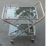 1950/70 ' Rolling Bar of Journey and Campstool in Chrome-plated Metal Style Jacques Adnet