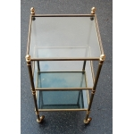 1950/70' Rolling Shelf with 3 Levels in Brass and Smoked Glass Maison Bagués