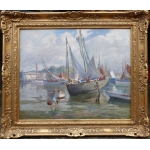 Barnoin Henri French Painting 20th century view of France ( Brittany ) harbour of concarneau in low tide oil on canvas signed