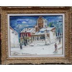 Genin Lucien Painting 20th Paris View Of Montmartre Cabaret Lapin Agile Oil On Canvas Signed