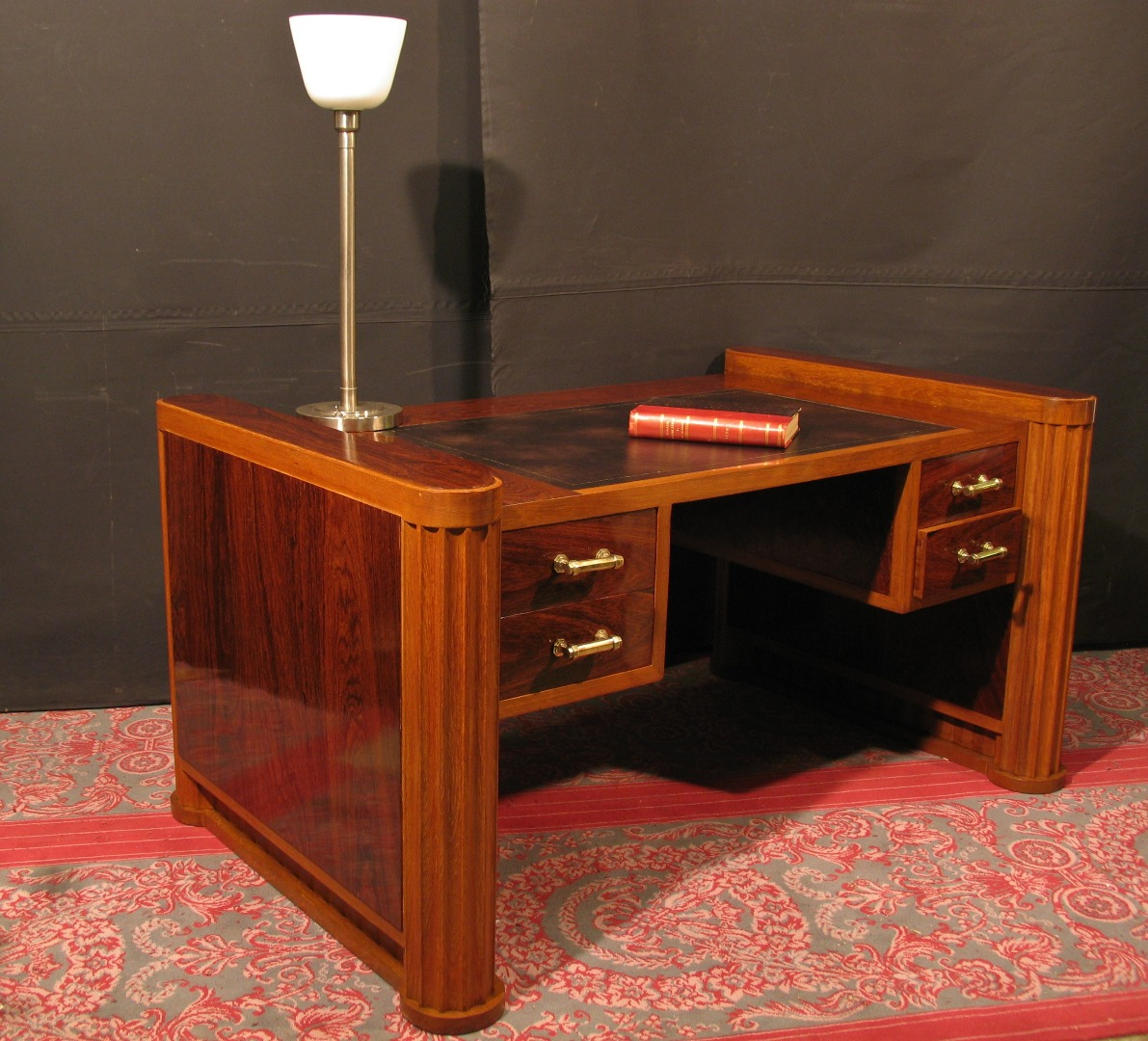 SECRETARY CHARLES X marble top stamped FIEL office furniture scriban