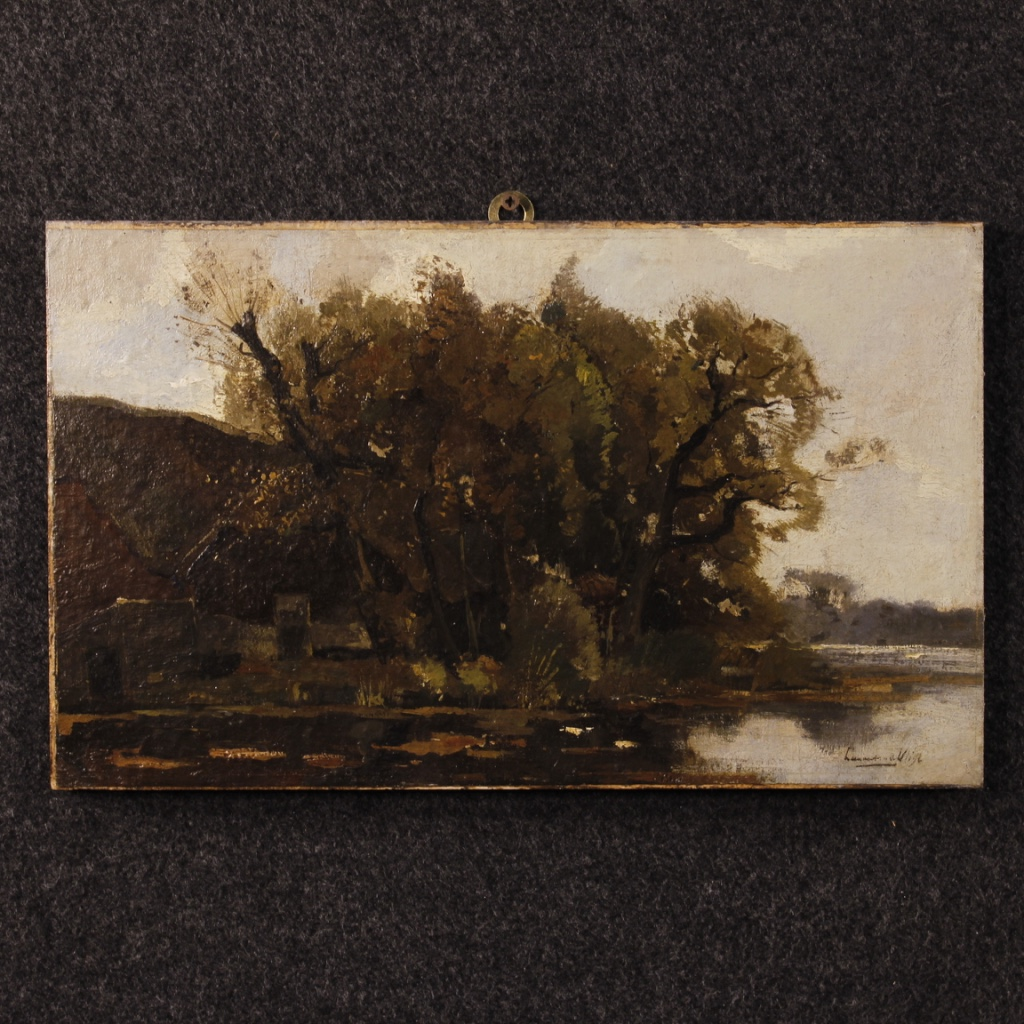 Dutch signed landscape painting oil on canvas