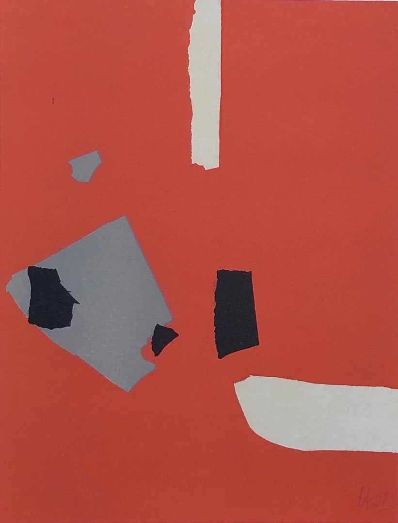 Nicolas De Staël ( d'après ) Composition on a orange background, Lithograph from 1958
