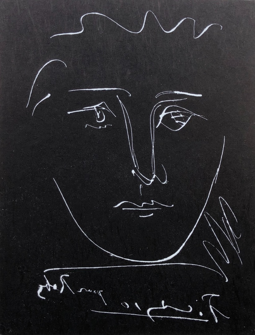 PICASSO Pablo ( d'après ) face for Roby Black engraving signed in the plate