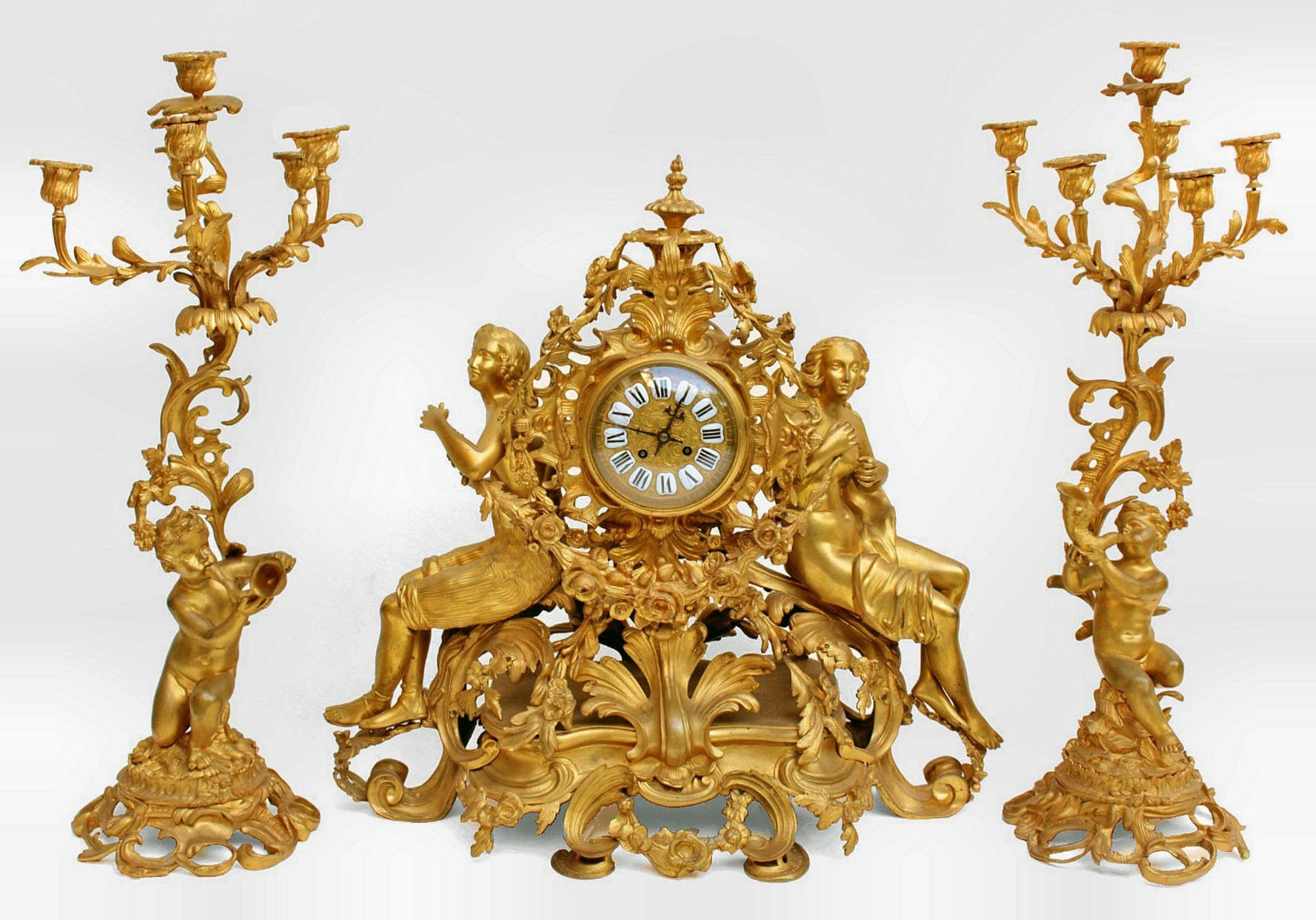 NAPOLEON III PERIODO MANTLE GARNITURE
