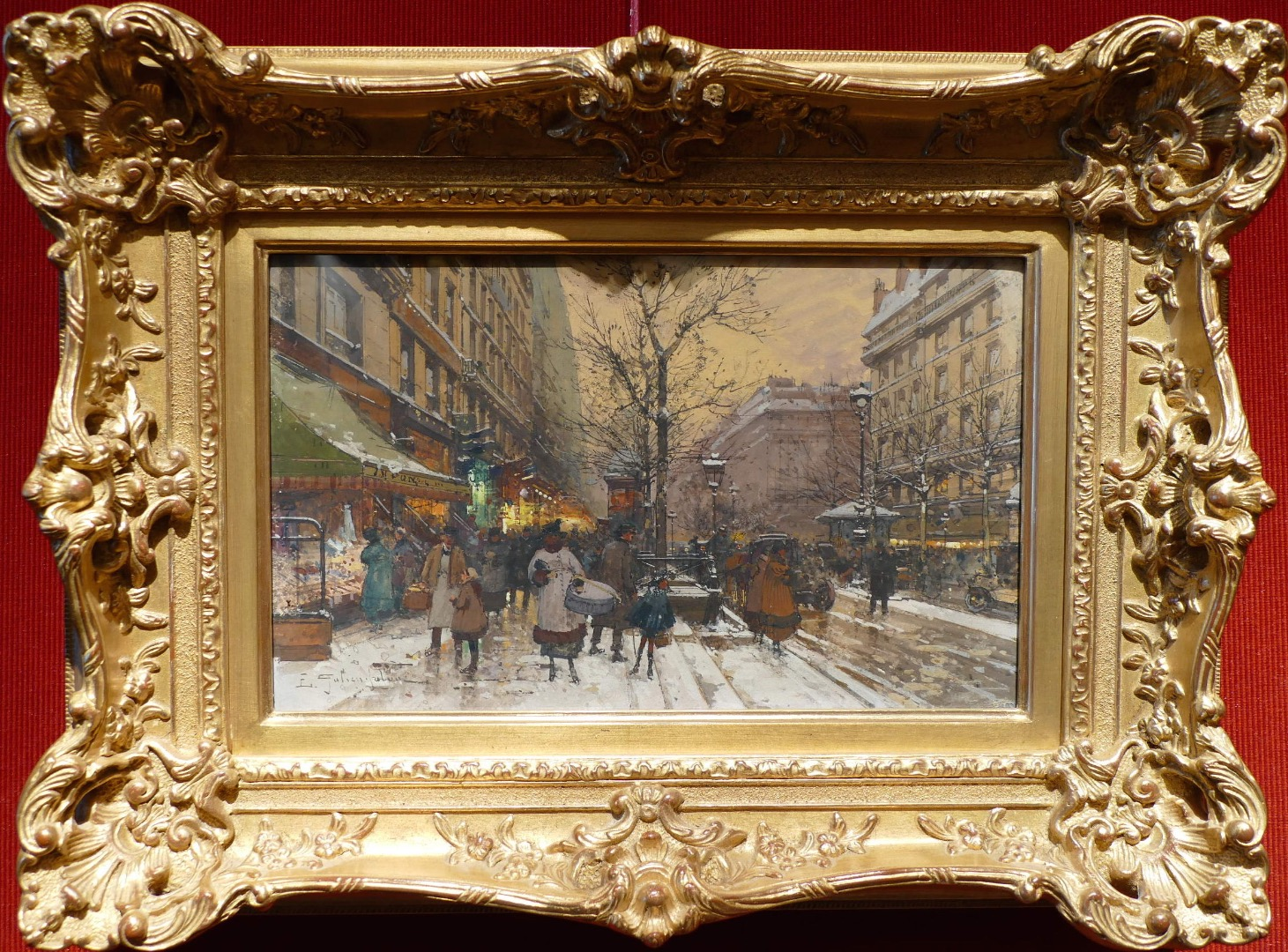 GALIEN LALOUE EUGENE FRENCH PAINTING 20Th CENTURY VIEW OF PARIS ANIMATION ON THE GRANDS BOULEVARDS GOUACHE SIGNED