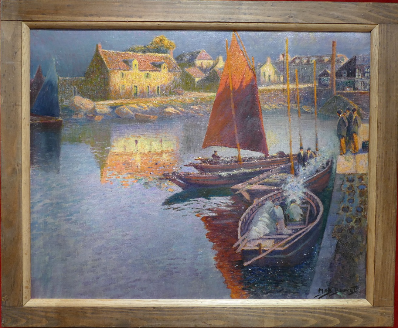 Max BOUVET French Painting seascape 20Th century Brittany harbour in the sun Oil on canvas signed