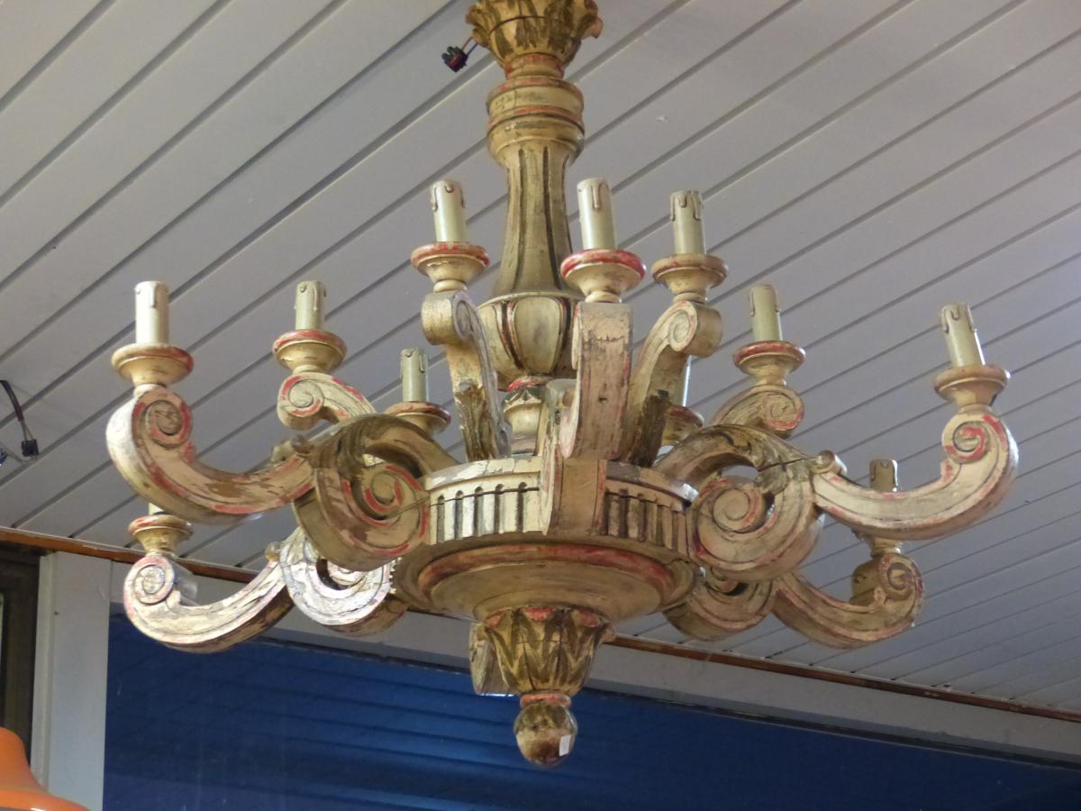 Large Louis XV Style Chandelier LOUIS XVI MASSIF Wood Painted XIX