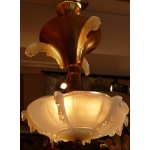 Opalescent pressed glass chandelier years 30 / 40