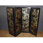 Screen With Japanese Decor And Black Lacquer End XIX