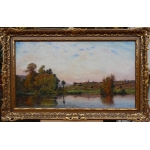 DELPY Hippolyte Camille ancient painting XIXTh century Barbizon school View of France The fishermen on the river in summer in Yonne Oil on Panel signed and dated