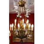 Important Empire chandelier 18 lights in chased and gilded bronze