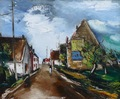 Vlaminck Maurice De French Painting XXTh Century Village Street Oil On Canvas Signed