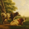 Antique Flemish painting landscape with cows from 19th century